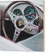 1955 Porsche Spyder Replica Steering Wheel Emblem Wood Print