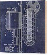 1955 Rocket Launcher Patent Drawing Blue Wood Print