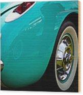 1956 Baby Blue Chevy Corvette Wood Print