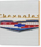 1956 Chevrolet 210 Emblem Wood Print