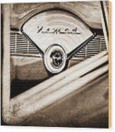 1956 Chevrolet Belair Nomad Dashboard Emblem Wood Print