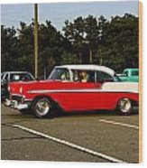 1956 Chevy Bel Air Red And White Wood Print