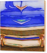 1956 Chevy - Blue Wood Print