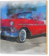 1956 Chevy Car Photo Art 01 Wood Print