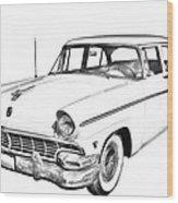 1956 Ford Custom Line Antique Car Illustration Wood Print