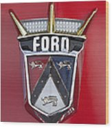 1956 Ford Fairlane Emblem Wood Print