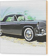 1956 Ford Thunderbird  Black  Classic Vintage Sports Car Art Sketch Rendering         Wood Print