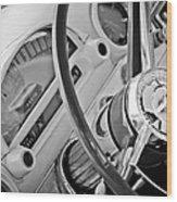 1956 Ford Thunderbird Steering Wheel -322bw Wood Print
