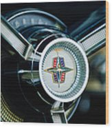 1956 Lincoln Continental Mark II Hess And Eisenhardt Convertible Steering Wheel Emblem Wood Print