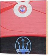 1956 Maserati 150s Grill Emblem - The Beels Racing Team Wood Print