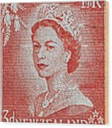 1956 Queen Elizabeth New Zealand Stamp Wood Print