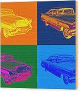 1956 Sedan Deville Cadillac Luxury Car Pop Art Wood Print