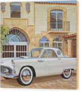 1956 Thunderbird At Palm Beach  Classic Vintage Ford Art Sketch Rendering          Wood Print