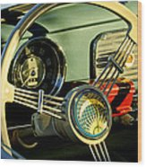 1956 Volkswagen Vw Bug Steering Wheel 2 Wood Print by Jill Reger