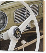 1956 Vw Convertible Steering Wheel Wood Print
