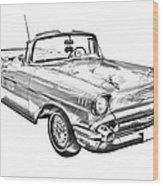 1957 Chevrolet Bel Air Convertible Illustration Wood Print