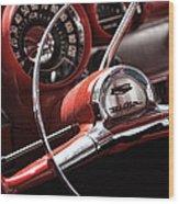 1957 Chevrolet Bel Air Steering Wheel Wood Print