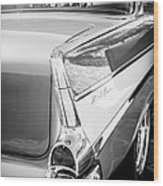 1957 Chevrolet Belair Coupe Tail Fin -019bw Wood Print