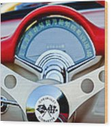 1957 Chevrolet Corvette Convertible Steering Wheel Wood Print by Jill Reger