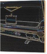 1957 Chevrolet Rear View Art Black_varooom Tag Wood Print