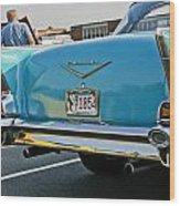 1957 Chevy Bel Air Blue From Rear Wood Print