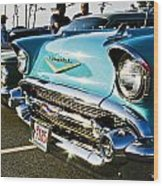 1957 Chevy Bel Air Blue Front End Wood Print