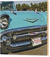 1957 Chevy Bel Air Blue Front Grill Wood Print