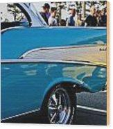 1957 Chevy Bel Air Blue Rear Quarter Wood Print