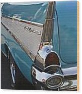 1957 Chevy Bel Air Blue Rear Quarter From Back Wood Print