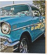 1957 Chevy Bel Air Blue Right Side Wood Print
