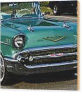 1957 Chevy Bel Air Green Front End Wood Print
