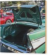 1957 Chevy Bel Air Green Rear Trunk Open Wood Print