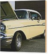1957 Chevy Bel Air Yellow Down The Side Wood Print