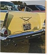 1957 Chevy Bel Air Yellow From Rear Quater Wood Print