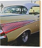 1957 Chevy Bel Air Yellow Side View  Wood Print