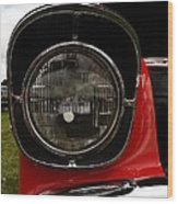 Old Car Headlight Wood Print