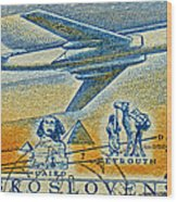 1957 Czechoslovakia Airline Stamp Wood Print