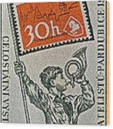 1957 Czechoslovakia Stamp Wood Print