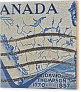 1957 David Thompson Canada Stamp Wood Print