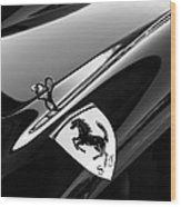 1957 Ferrari Tr 250 - 0714 Emblem -0379bw Wood Print