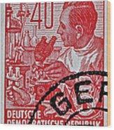 1957 German Democratic Republic Chemist Stamp Wood Print