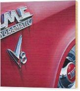 1957 Gmc V8 Pickup Truck Gmc Hydra-matic Emblem Wood Print