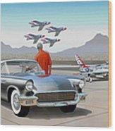 1957 Thunderbird  With F-84 Gunmetal Vintage Ford Classic Art Sketch Rendering           Wood Print