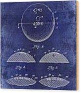 1958 Bowling Patent Drawing Blue Wood Print