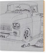 1958 Chevby Pick Up Junkyard Dawg Aka The Bull Dawg Wood Print