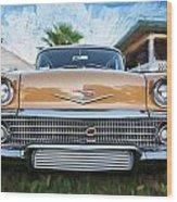 1958 Chevrolet Bel Air Impala Painted   Wood Print