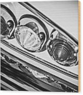 1958 Chevrolet Impala Taillight -0289bw Wood Print