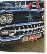 1958 Chevy Impala Front End Grill Work Wood Print