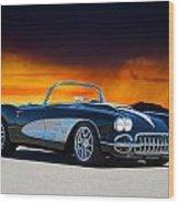 1958 Corvette At Sunset Wood Print