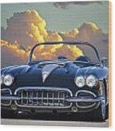 1958 Corvette In Clouds Wood Print
